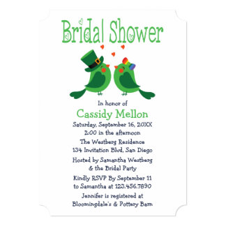 Lovebirds Green & White Bridal Shower Card