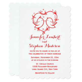 Lovebirds & Heart Red And White Wedding Card