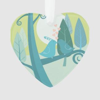 Lovebirds In Moonlight Christmas Ornament