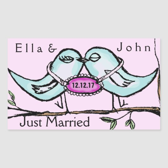 Lovebirds Just Married Sticker