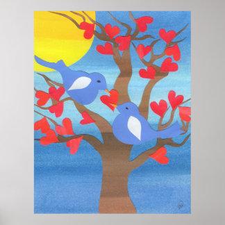Lovebirds Nesting Poster