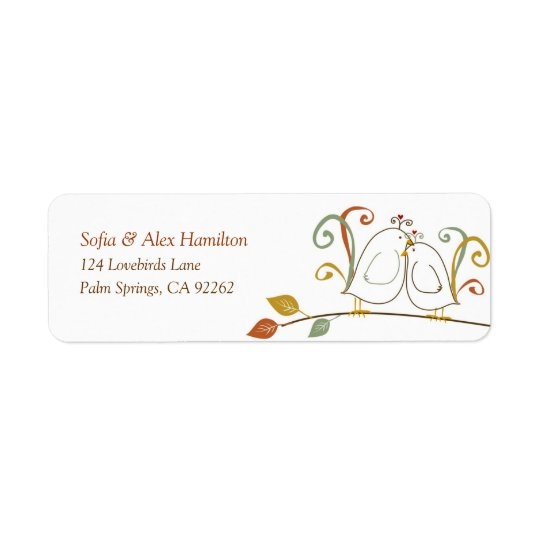 Lovebirds on Branches Return Address Labels