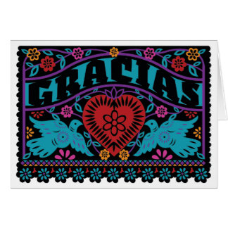 Lovebirds Papel Picado Note Card with Dusky Colors
