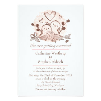 Lovebirds Pink And Brown Wedding Invitation