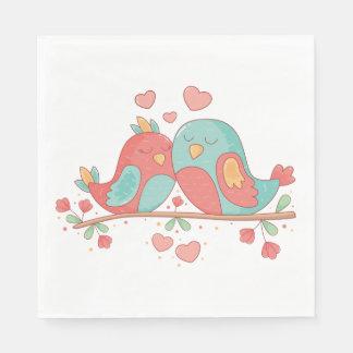 Lovebirds Pink, Blue Green Turquoise Wedding Disposable Napkin