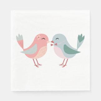 Lovebirds Pink & Blue Wedding, Bridal Shower Disposable Napkin