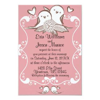 Lovebirds Pink Wedding Invitation