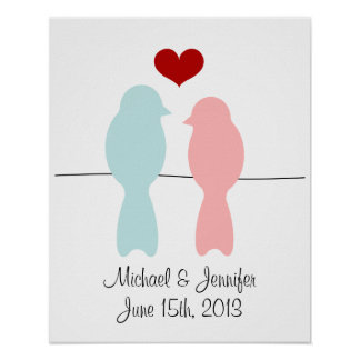 Lovebirds print - customize with names and date