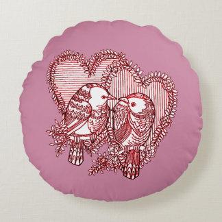 Lovebirds Round Pillow