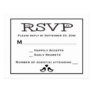 Lovebirds RSVP Black And White Wedding Postcard