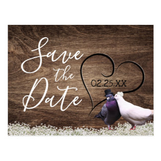 Lovebirds Rustic Floral Wedding Save the Date Postcard