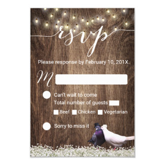 Lovebirds & String Lights Rustic Wedding RSVP Card