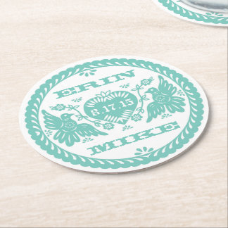 "Lovebirds teal 4"" paper coaster"