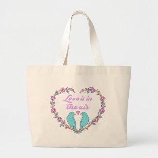 Lovebirds Turquoise Purple Love Heart Wreath Large Tote Bag