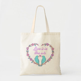 Lovebirds Turquoise Purple Love Heart Wreath Tote Bag