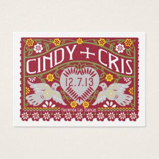 Lovebirds Wedding Banners Favour Card Spanish