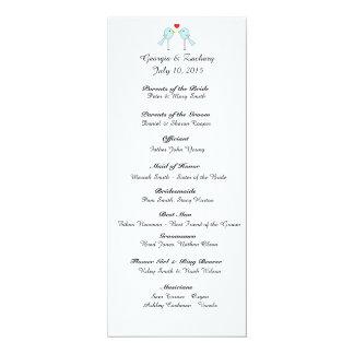 """""""Lovebirds"""" Wedding Program 4"""" X 9.25"""" Invitation Card"""