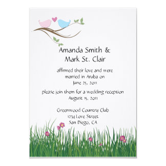 Lovebirds Wedding Reception Invitation