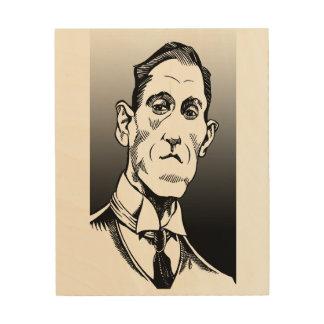 Lovecraft Portrait, Lovecraft art, wood wall art