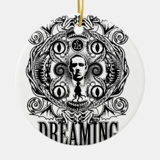 Lovecraftian Dreams Round Ceramic Ornament