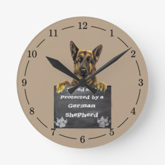 Loved and Protected by a German Shepherd Clocks