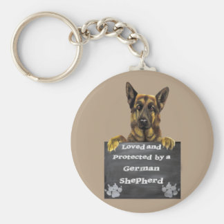 Loved and Protected by a German Shepherd Keychain