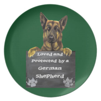 Loved and Protected by a German Shepherd Plate