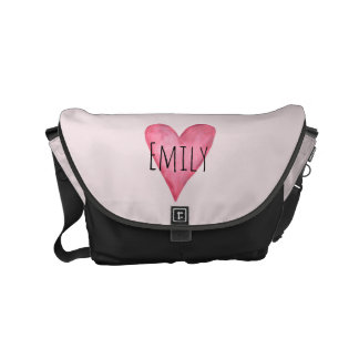 Loved Baby Girl's Pink Heart Diaper Bag with Name Messenger Bag