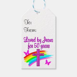 LOVED BY GOD 50TH BIRTHDAY DESIGN PACK OF GIFT TAGS