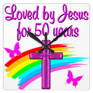 LOVED BY GOD 50TH BIRTHDAY DESIGN WALL CLOCKS