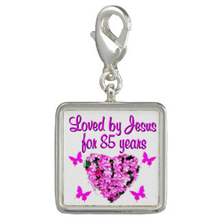 LOVED BY JESUS FOR 85 YEARS FLORAL DESIGN CHARM