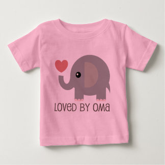 Loved By Oma Heart Elephant Baby T-Shirt