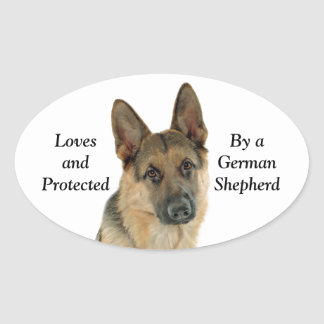 Loved & Protected by a German Shepherd Oval Sticker