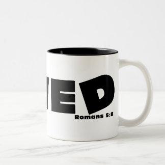 Loved. Romans 5:8 Two-Tone Coffee Mug