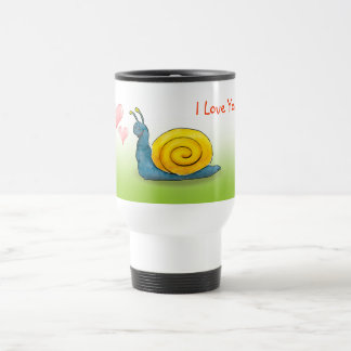 Loved snail with big heart  - Mug template