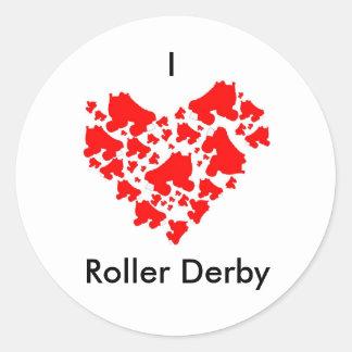 loveDerby, I, Roller Derby Classic Round Sticker