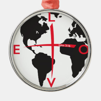 LoveGlobe316 - white background Metal Ornament