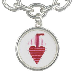 Loveheart Boat Charm Bracelet