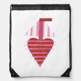 Loveheart Boat Drawstring Bag