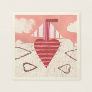 Loveheart Boat Ecru Napkins Disposable Napkins