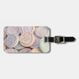 Loveheart sweets photograph luggage tag