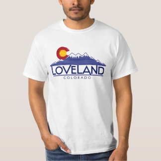 Loveland Colorado wood flag mountains tshirt