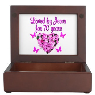 LOVELY 70TH BIRTHDAY PINK FLORAL PHOTO DESIGN MEMORY BOXES
