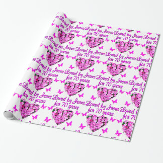 LOVELY 70TH BIRTHDAY PINK FLORAL PHOTO DESIGN WRAPPING PAPER