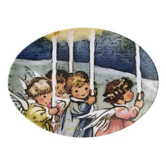 lovely angels porcelain serving platter