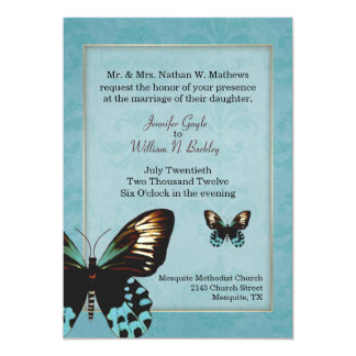 Lovely Aquamarine Butterfly Wedding Invitation