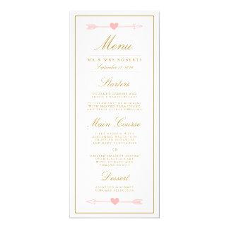 "Lovely Arrows Wedding Dinner Menu / Blush & Gold 4"" X 9.25"" Invitation Card"