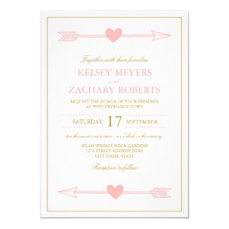 Lovely Arrows Wedding Invitation / Blush & Gold
