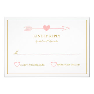 "Lovely Arrows Wedding RSVP Card / Blush & Gold 3.5"" X 5"" Invitation Card"