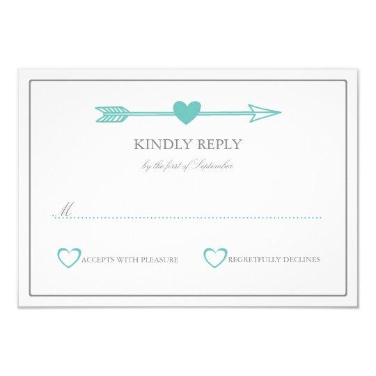 Lovely Arrows Wedding RSVP Card / Teal & Grey